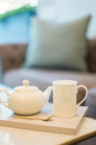 Teapot and cup to enjoy a drink at Blush and Blow london
