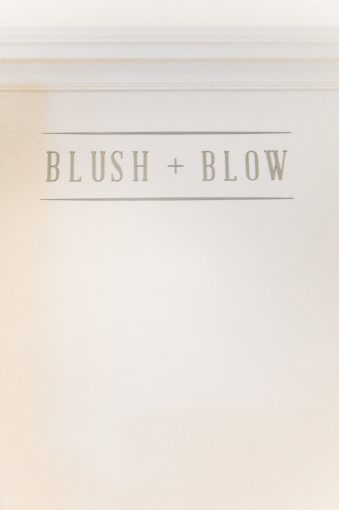 the Blush and Blow London salon signage and logo