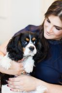 Bridget O'Keeffe and king charles pet dog