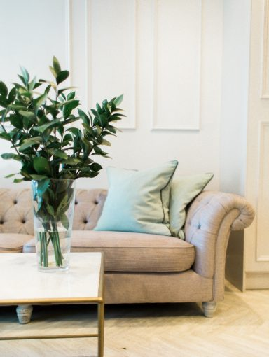 the chic seating in reception at blush and blow london