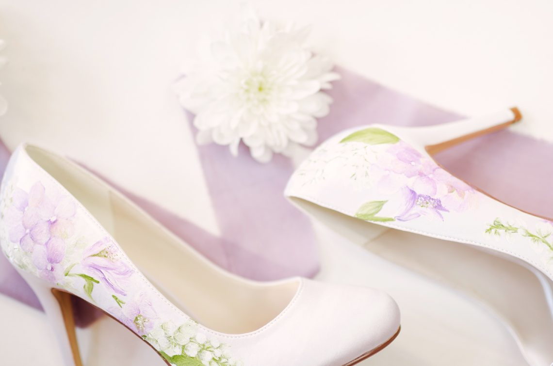 hand painted elizabeth rose bridal shoes