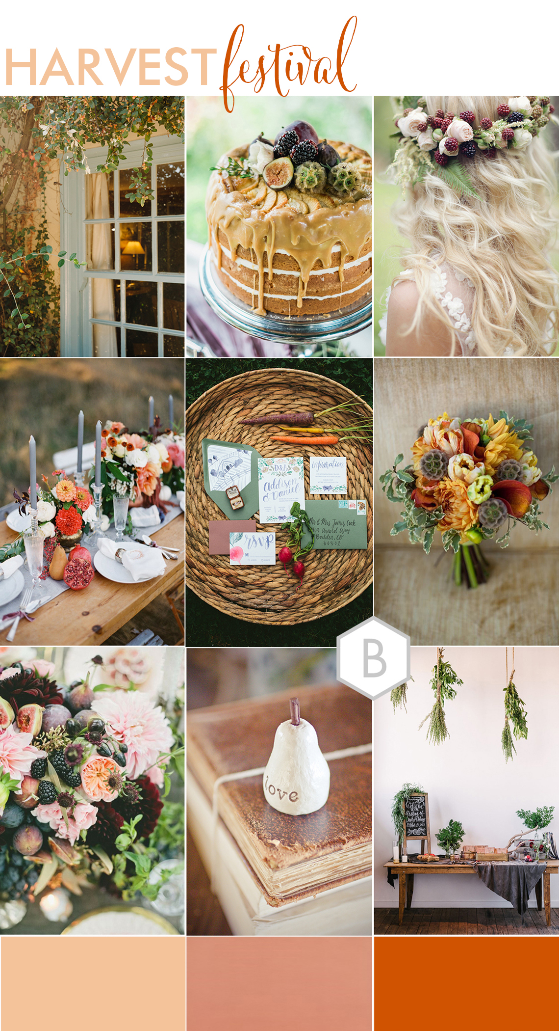 wedding moodboard of ideas and inspirations for an autumn wedding in the couuntryside