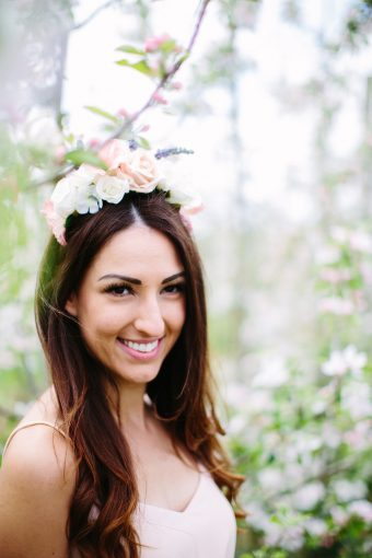 bride to be wearing a floral crown