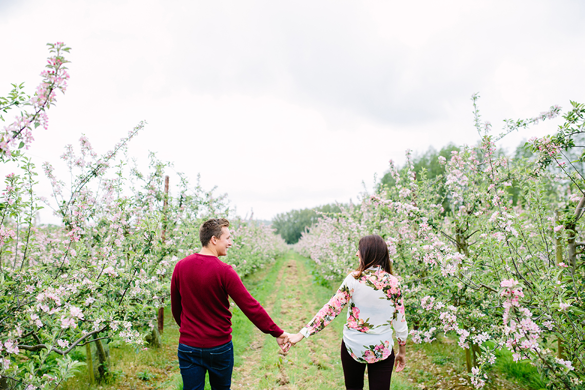 engagement session couple holding hands in the blossom tree orchard