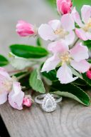 beautiful engagement ring with pretty pink blossoms