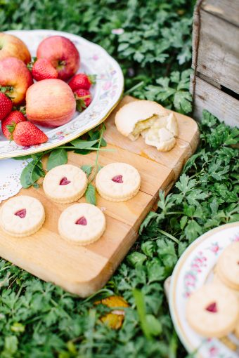 picnic styling with biscuits and little pie