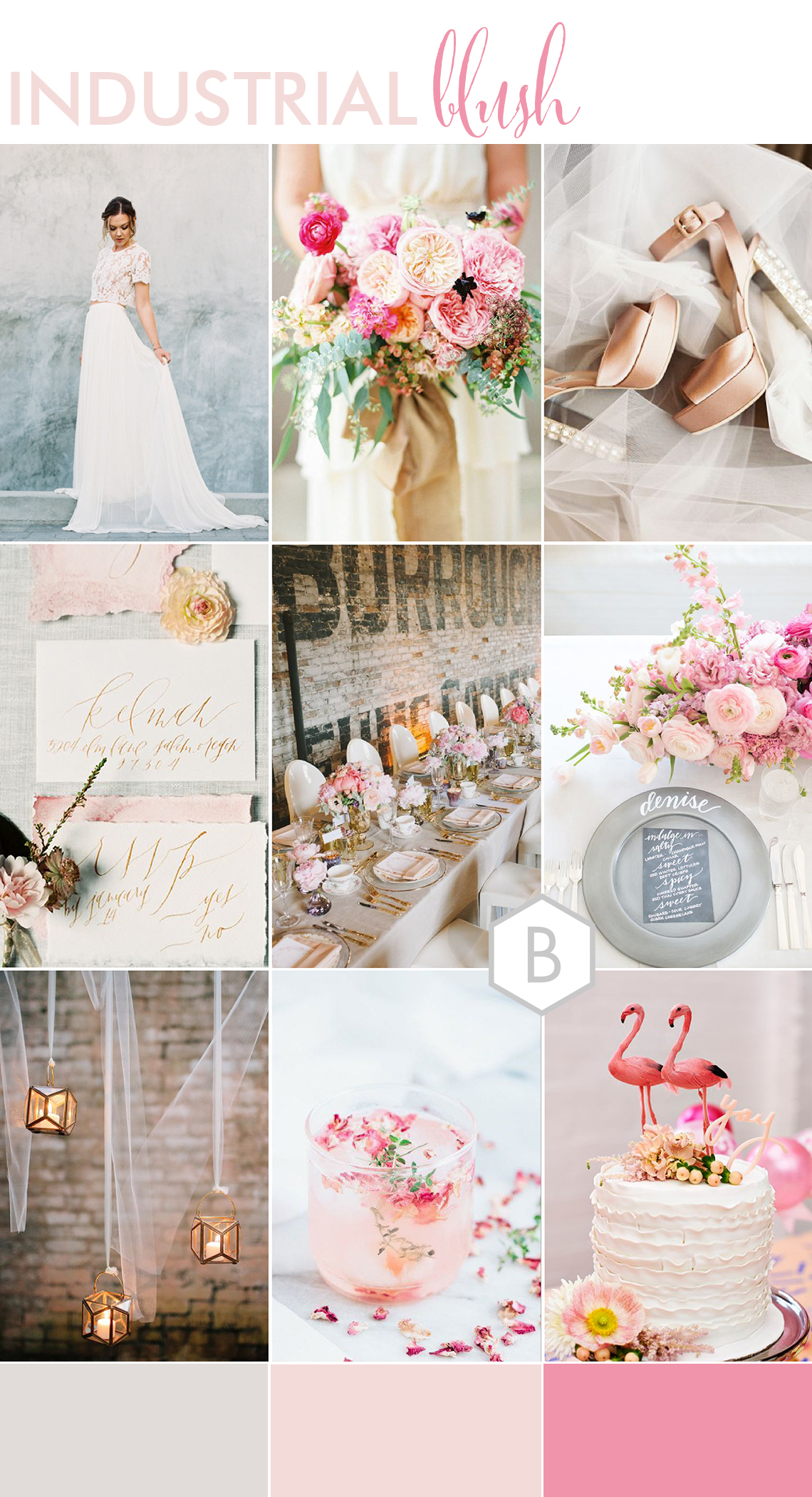 wedding moodboard of ideas for a pink and white wedding with a contemporary industrial style setting and pretty details