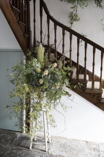 statement floral design by jay archer in different colours and texutres of greens