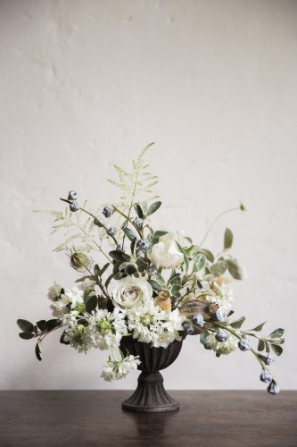 jay archer floral statement wedding centrepiece of whites and greens