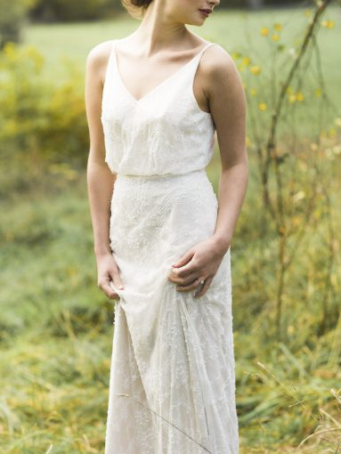 beautiful lace and embellished wedding dress by Luellas Bridal