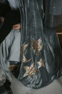 silver grey wizard dressing up cape with gold stars and moon embellished in sequins on it