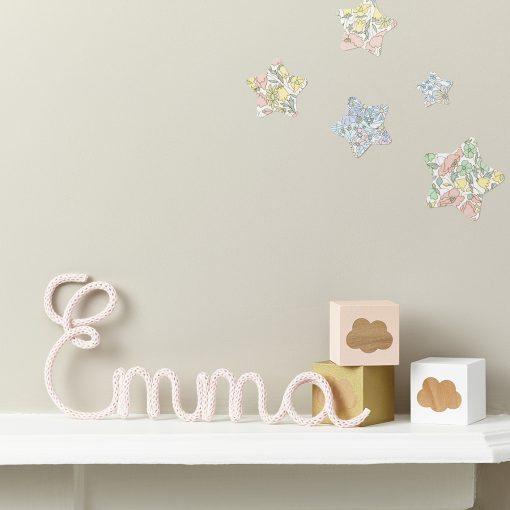 cute emma name fabric sign and wooden cloud print blocks