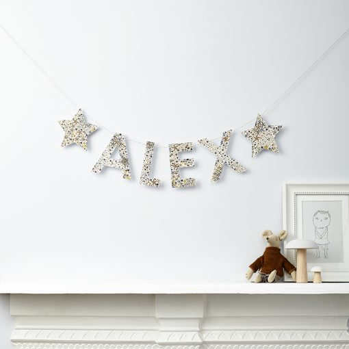 star and name liberty print fabric bunting