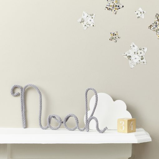 fabric noah name sign for the nursery and liberty printed wall stars