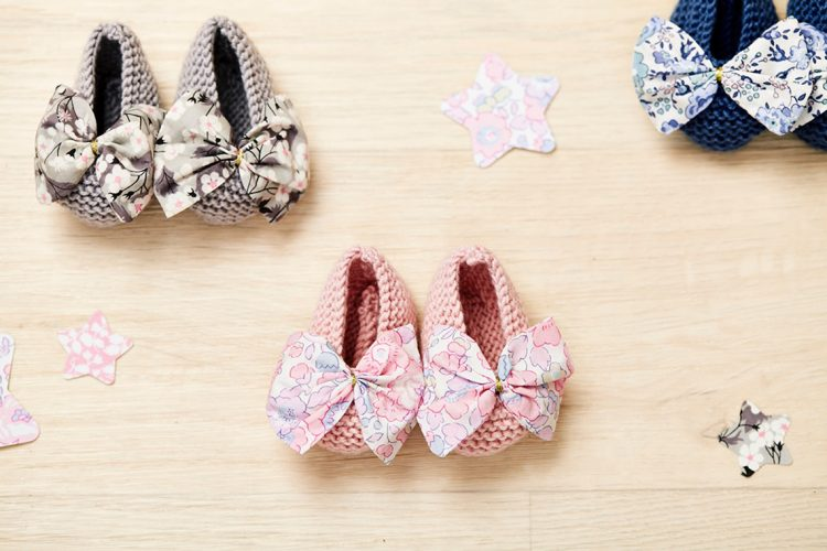 knitted girls shoes with liberty print bows
