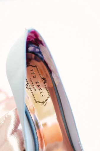 the Ted Baker logo inside the shoes in shiny rose gold