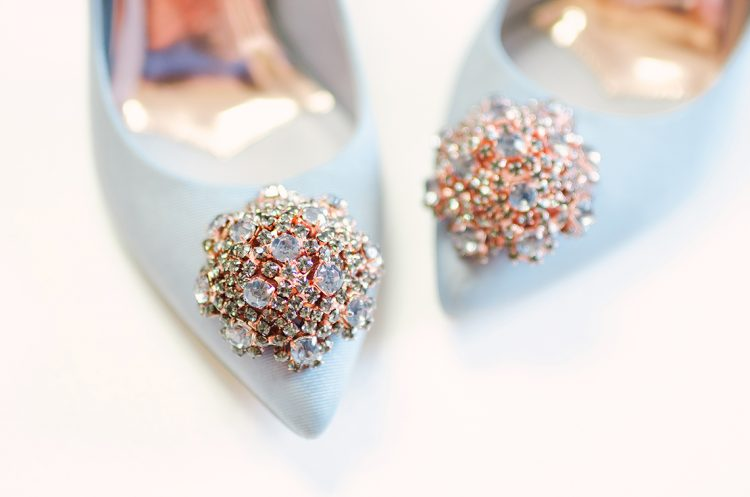 details of the crystal embellishment in rose gold to the toe of the ted baker peetch shoes