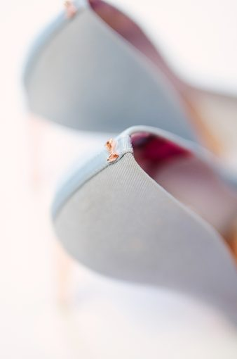 tiny rose gold ted baker bow on the heel of the Peetch shoes