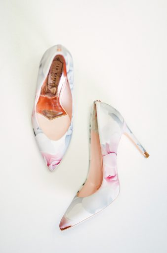 falylay of ted baker court shoes with floral print and rose gold insoles