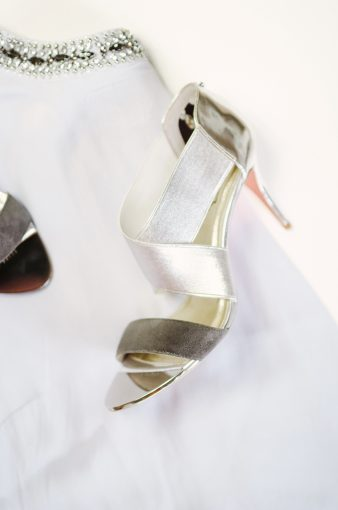 silver high heeled sandals with suede strap