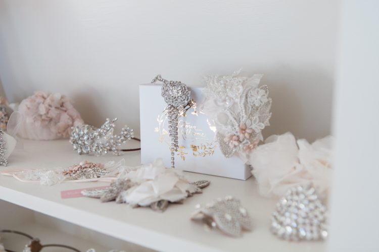 a range of bridal accessories on display
