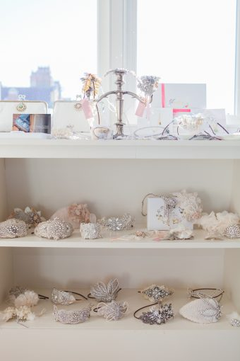 shelves filled with pretty bridal accessories designed and created by Victoria
