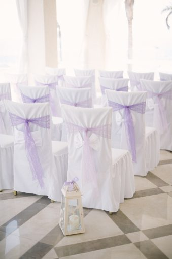 wedding ceremony set up and florals at the Alexander the Great hotel