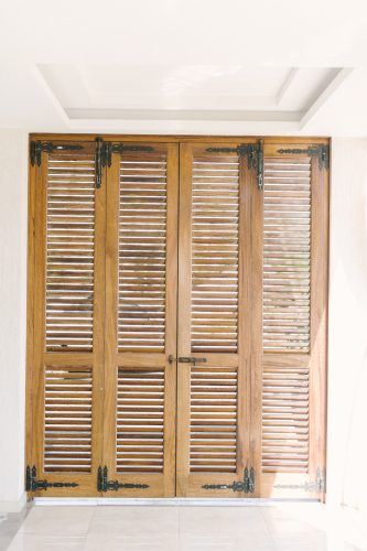 rustic wooden window shutters