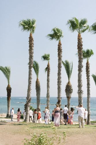 wedding guests enjoying the sunshine and palm trees in cyprus