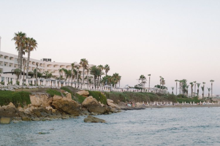 View of the coast and Alexander the Great Hotel front