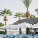 the blue and white theme pool bar restaurant