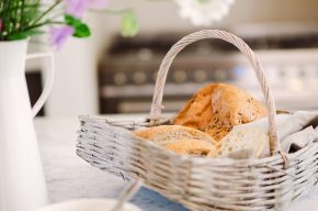 basket of fresh breads in the kitchen