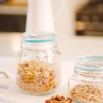 jars of granola and mixed nuts