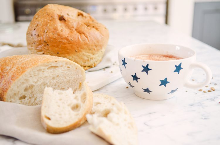 hot chocolate and freshly torn bread