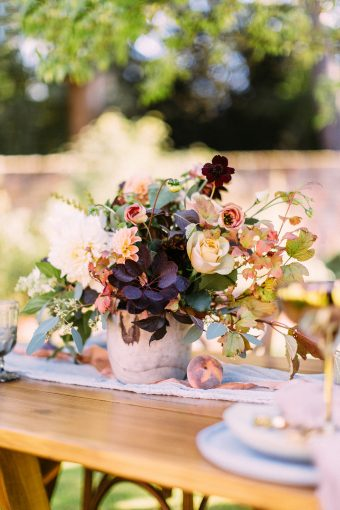 magnificent floral centrepiece on a blue runner