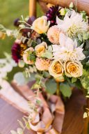 wedding flowers with peach ad yellow tones