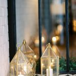 beautiful brass lanterns with candles inside to create ambience