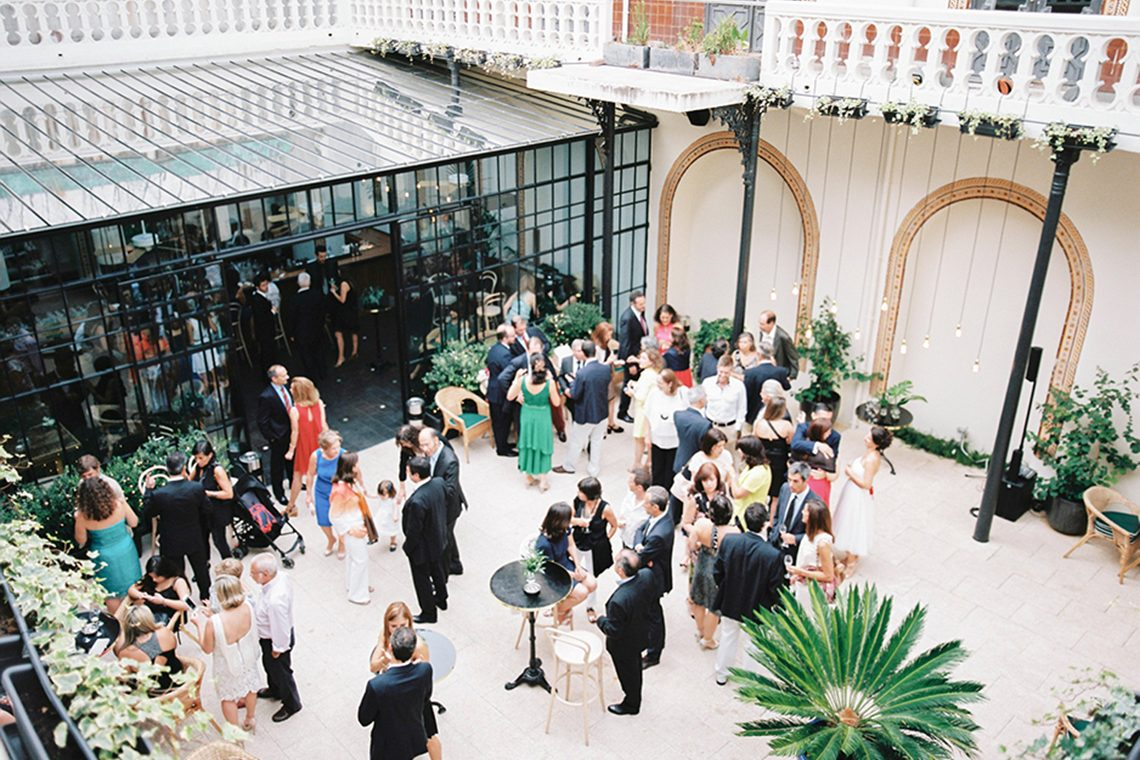 outdoor courtyard for wedding guests to relax and enjoy