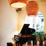 grand piano and stylish bar setting