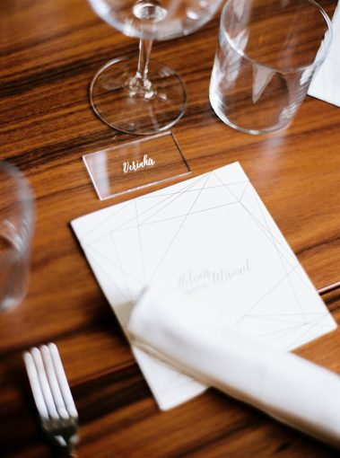 table setting with acrylic name seating cards