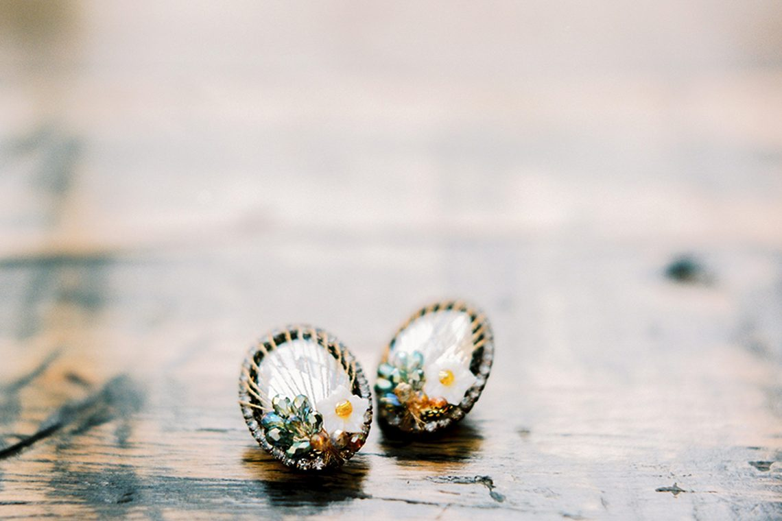 unique statement earrings worn by the bride