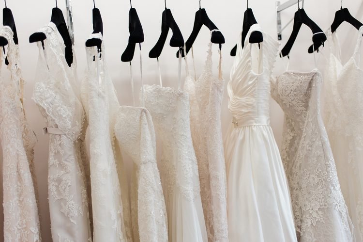 rows of beautiful wedding dresses