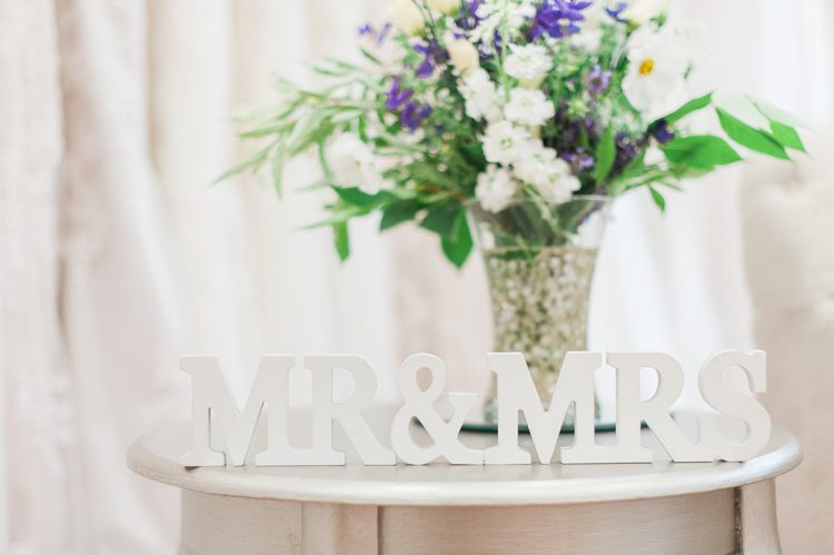 mr and mrs wooden letters and pretty flowers