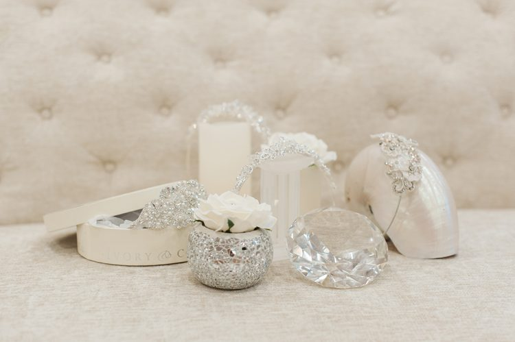 mixture of pretty bridal accessory items