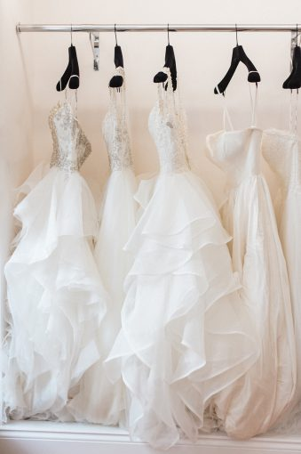 beautiful rail of ruffles wedding dresses