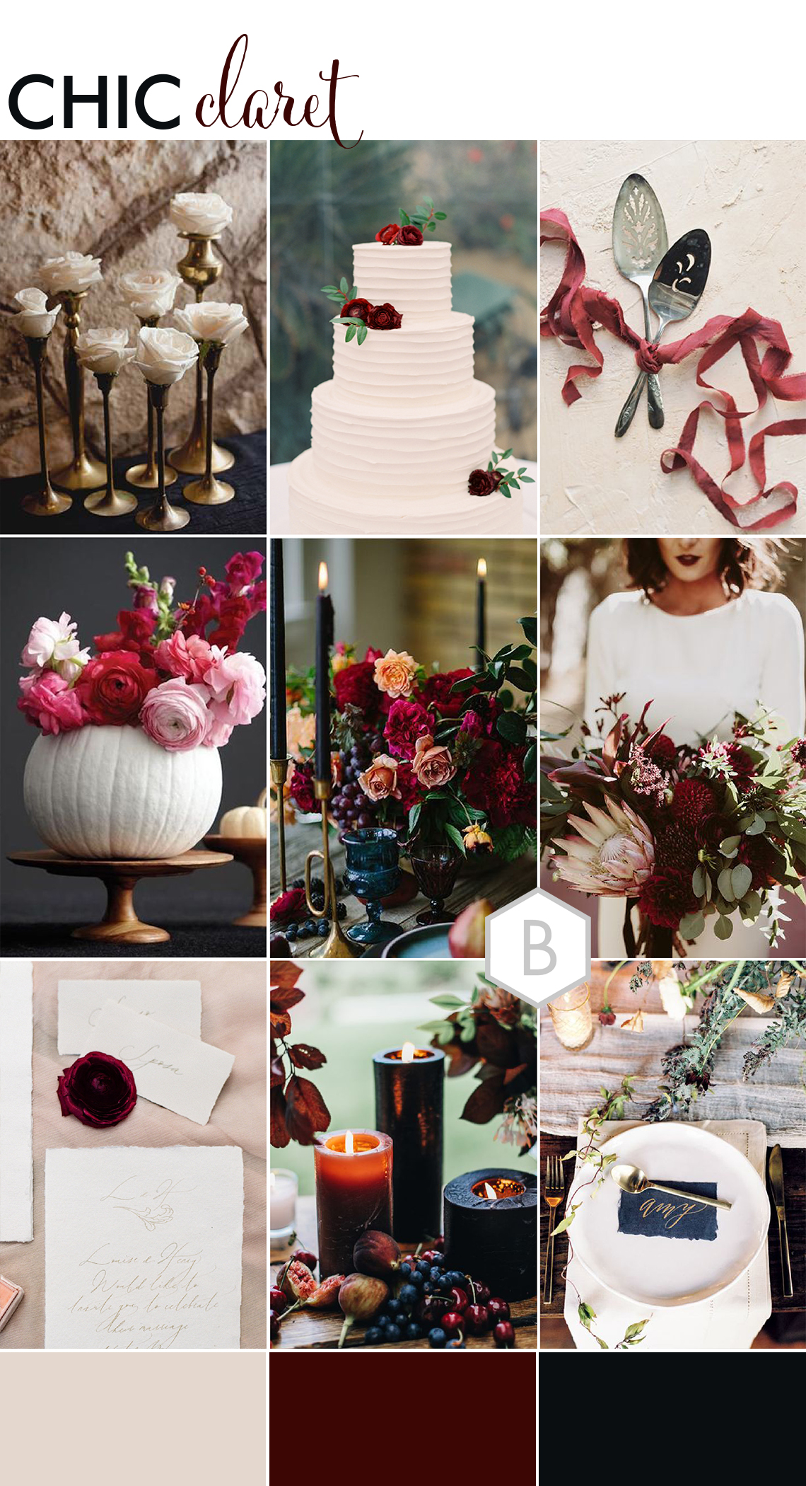 Montage of wedding inspirations inspired by Halloween with a deep red claret colour