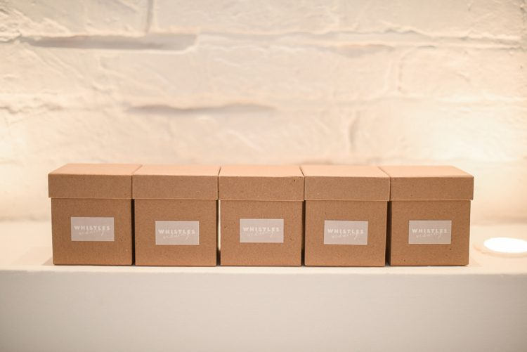 collection of boxes at the whistles wedding collection press day