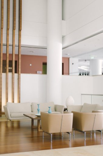 contemporary decor of the lounge areas of Olympic lagoon resort hotel