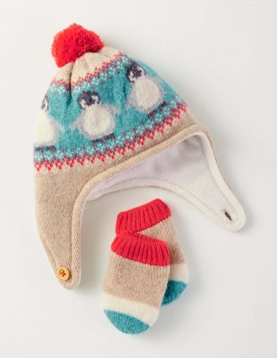 childrens woolen hat with red pom pom and peguin knitted pattern and matching mittens
