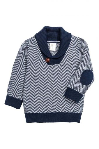 blue knitted childs jumper with shawl collar
